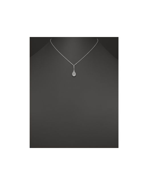 "KC Designs   Metallic Diamond Tennis Racket Pendant Necklace In 14k White Gold, 16""   Lyst"