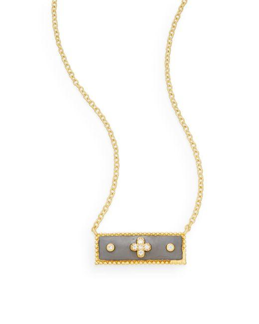 Freida Rothman   Metallic 14k Yellow Gold Vermeil & Sterling Silver Clover Bar Necklace   Lyst