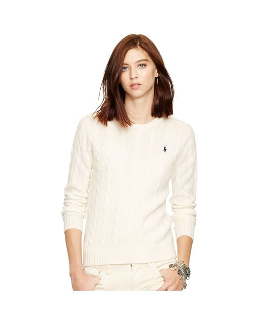Polo Ralph Lauren | Natural Cable Knit Crewneck Sweater | Lyst
