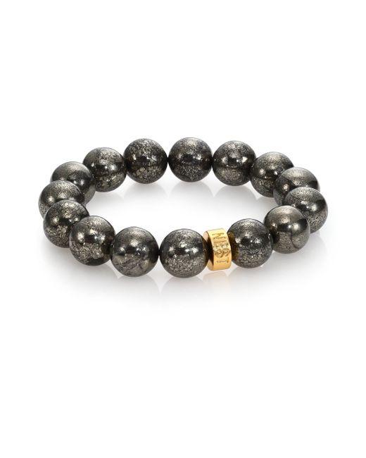 Nest | Metallic Pyrite Beaded Stretch Bracelet | Lyst