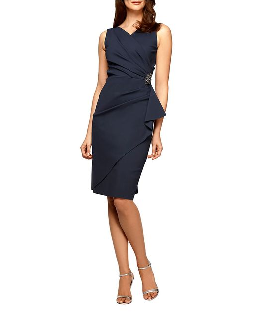 Alex Evenings | Gray Plus Pleated Surplice Sheath Dress | Lyst