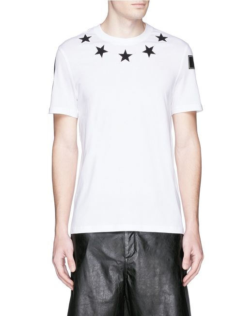 Givenchy star embroidery cotton t shirt in white for men for Givenchy 5 star shirt
