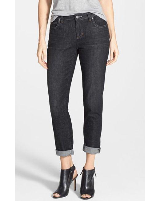 Eileen Fisher   Black Organic Cotton Boyfriend Jeans   Lyst