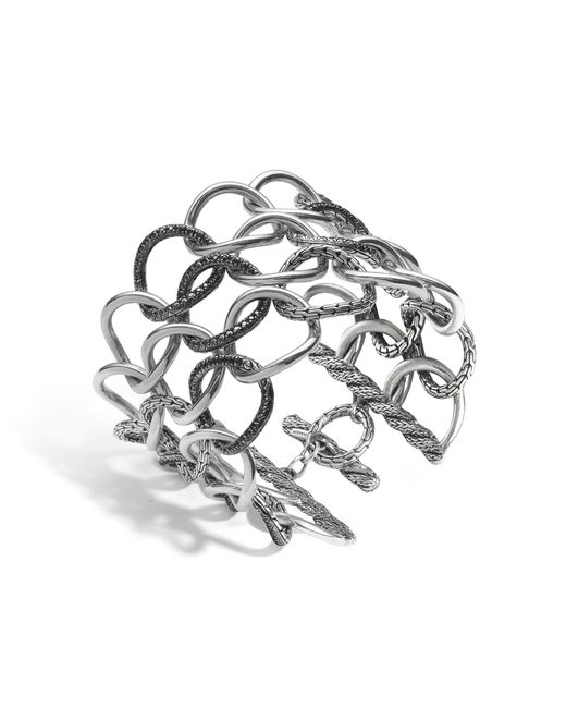 John Hardy | Classic Chain Open Link Bracelet With Black Sapphire | Lyst