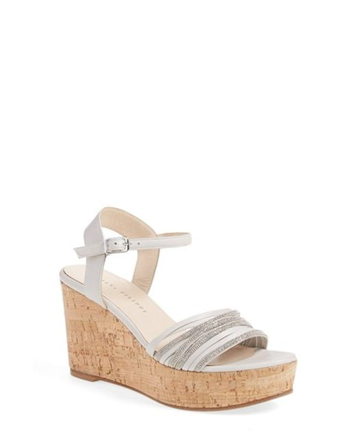 fabiana filippi cork and leather wedge sandals in gray