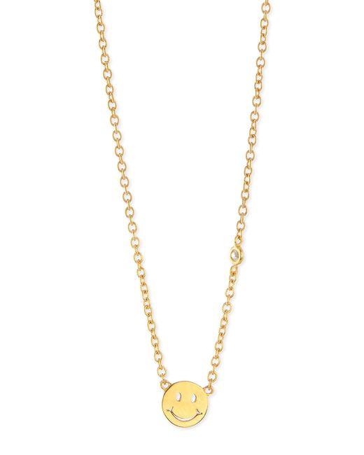 Shy By Sydney Evan | Yellow Happy Face Bezel Diamond Necklace | Lyst
