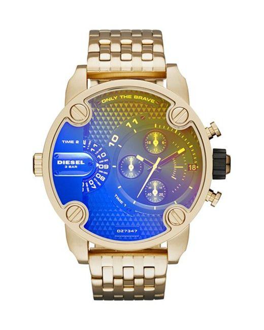 DIESEL | Metallic Diesel 'little Daddy' Chronograph Bracelet Watch for Men | Lyst