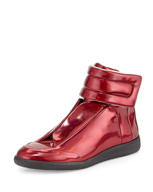 maison margiela future leather high top sneaker in red for men lyst. Black Bedroom Furniture Sets. Home Design Ideas