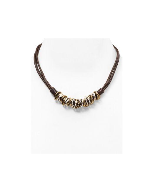 "Robert Lee Morris | Metallic Two Tone Frontal Hoop Necklace, 19"" | Lyst"
