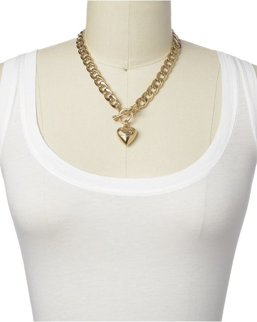 Juicy Couture | Metallic Banner Heart Starter Necklace | Lyst