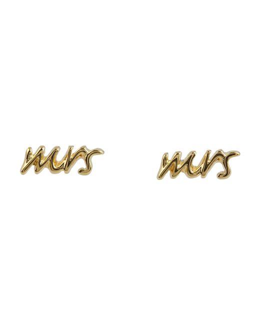 "kate spade new york | Metallic Say Yes ""mrs"" Studs | Lyst"