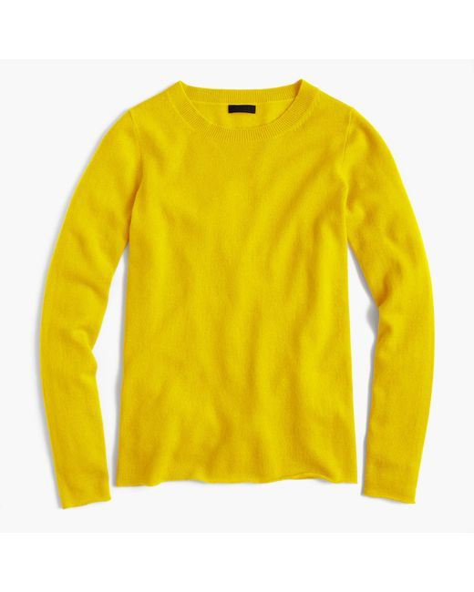 Italian Cashmere Long Sleeve T Shirt In Yellow Lyst