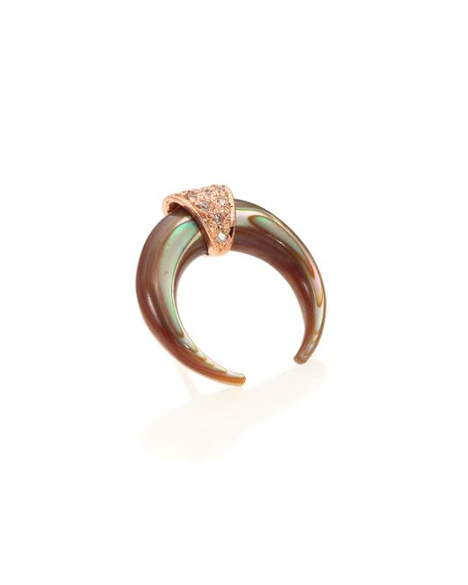 Jacquie Aiche | Pink Abalone, Diamond & 14k Rose Gold Double Horn Single Stud Earring | Lyst