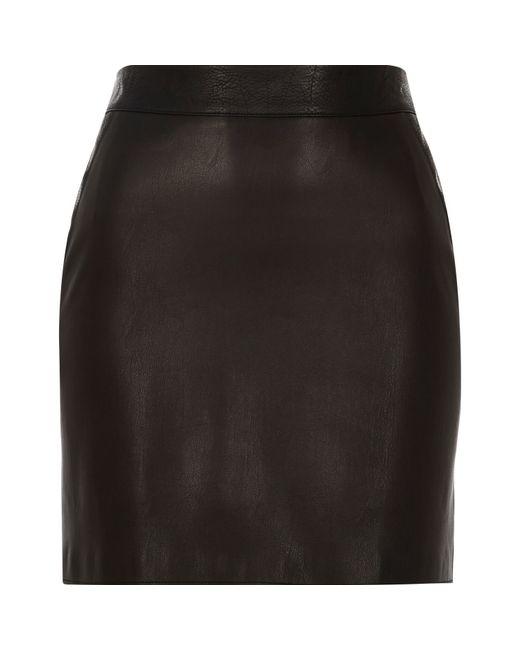 River Island | Black Leather Look Mini Skirt | Lyst