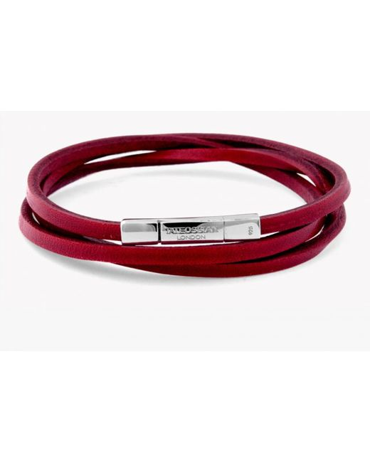 Tateossian | Triple Wrap Fettuccine Bracelet In Red Leather With Silver Clasp for Men | Lyst
