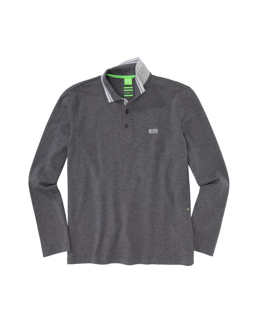 BOSS Green   Gray Regular-fit Long-sleeved Polo Shirt In Cotton Piqué: 'plisy' for Men   Lyst