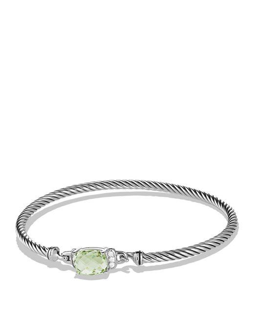 David Yurman | Metallic Petite Wheaton Bracelet With Prasiolite And Diamonds | Lyst