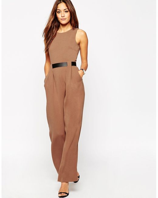 Asos Tailored Jumpsuit With Belted Waist Detail In Brown ...