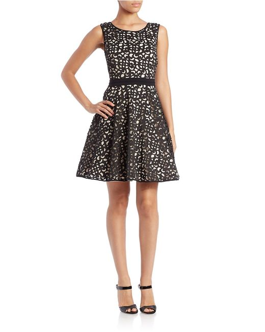 Xscape | Black Laser-cut Fit-and-flare Dress | Lyst