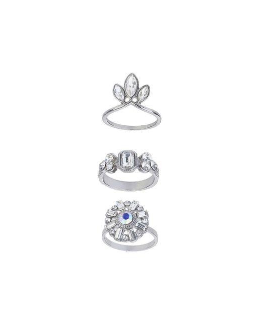 TOPSHOP | Metallic Stone Encrusted Ring Set | Lyst