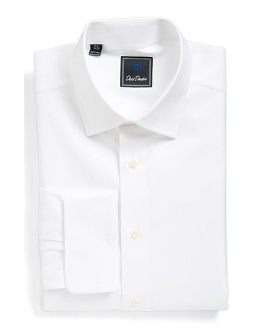 David Donahue Regular Fit Texture Dress Shirt In White For