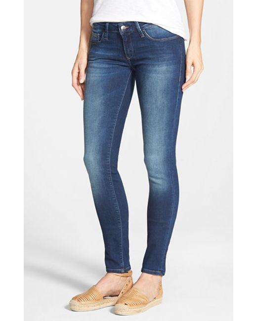 mavi jeans 39 serena 39 low rise stretch skinny jeans in blue. Black Bedroom Furniture Sets. Home Design Ideas