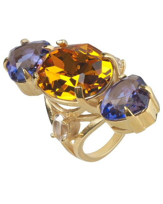 Cabinet   Metallic Gold Plated Swarovski Crystal Erinus Ring   Lyst