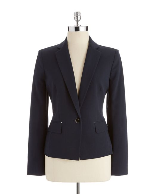 Anne Klein | Blue One Button Blazer | Lyst