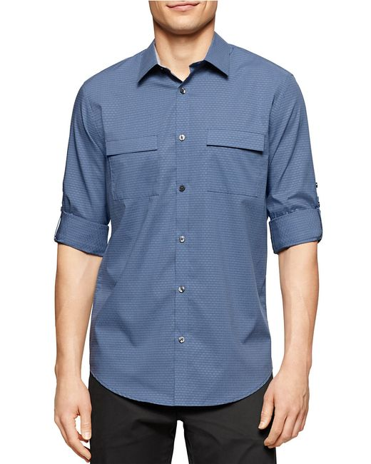Calvin Klein | Blue Textured Roll-tab Sportshirt for Men | Lyst