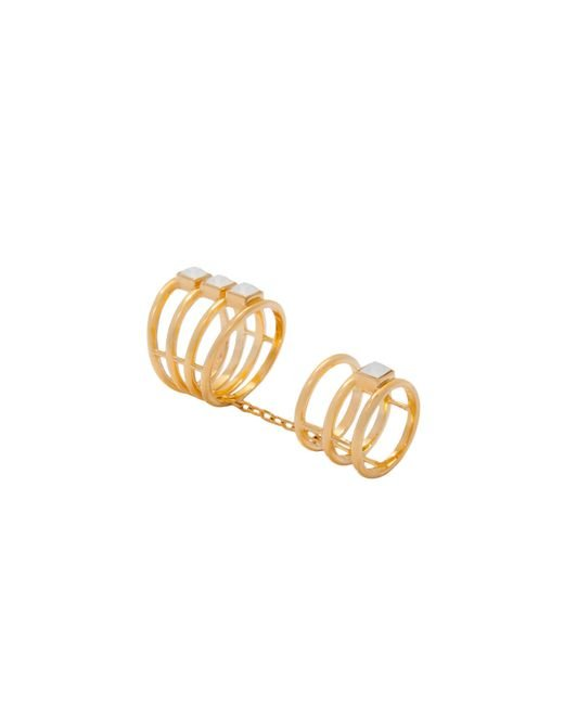 Trina Turk | Metallic Triple Band Midi Double Ring | Lyst