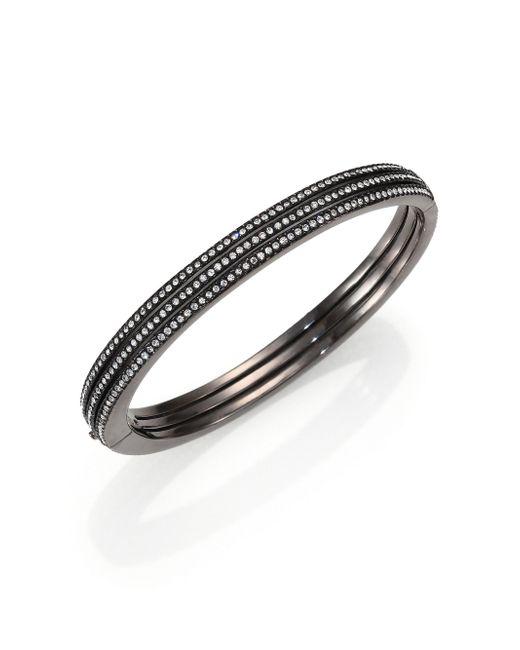 Adriana Orsini | Black Pave Crystal Three-row Bangle Bracelet | Lyst