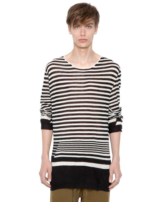haider ackermann striped cotton cashmere sweater in black. Black Bedroom Furniture Sets. Home Design Ideas