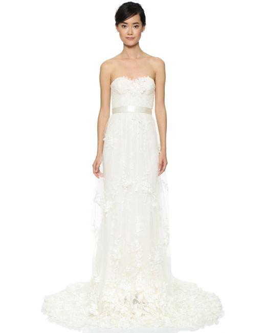 Marchesa Azalea Gown In White Ivory