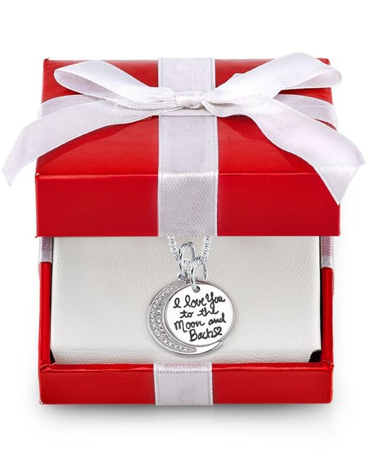 Macy's | Metallic Cubic Zirconia I Love You To The Moon And Back Disc Pendant Necklace In Sterling Silver | Lyst