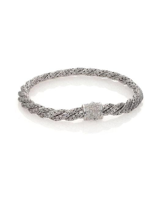John Hardy | Metallic Classic Chain Diamond & Sterling Silver Extra-small Twisted Bracelet | Lyst