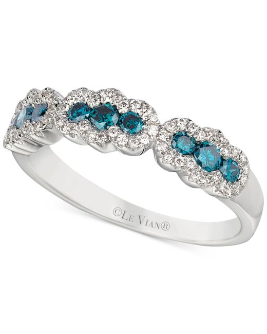 Le Vian | Exotics® Blue And White Diamond Ring (1/2 Ct. T.w.) In 14k White Gold | Lyst