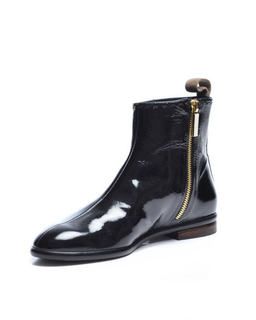 Dear Frances Scope Patent Ink Leather Ankle Boot Last