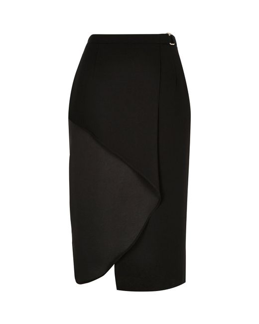 River Island | Black Frilly Wrap Front Skirt | Lyst