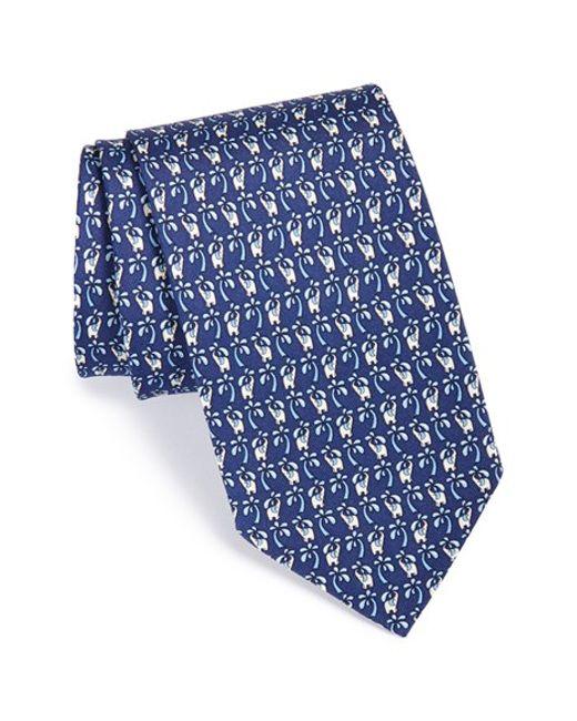 Ferragamo | Blue Elephant Print Silk Tie for Men | Lyst