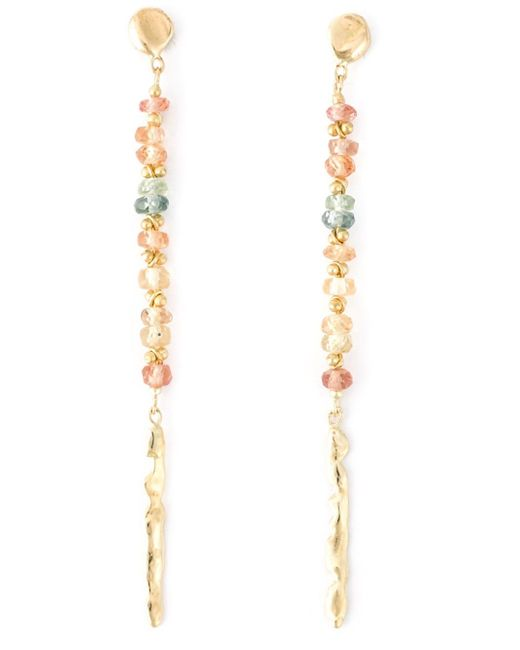 Natasha Collis | Metallic Peach Sapphire Drop Rod Stud Earrings | Lyst