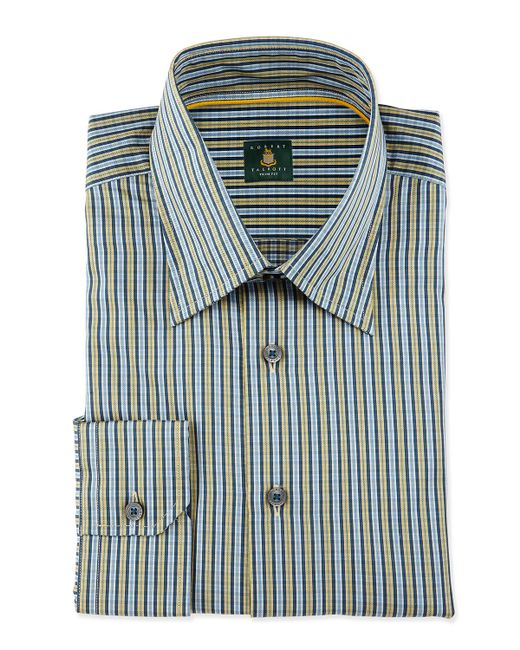 Robert talbott striped woven dress shirt in green for men for Robert talbott shirts sale