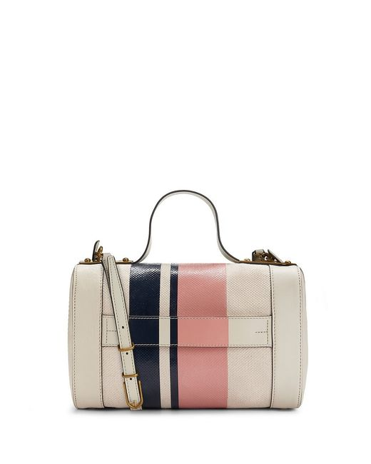Tory Burch | Pink Leather Stripe Square Satchel | Lyst
