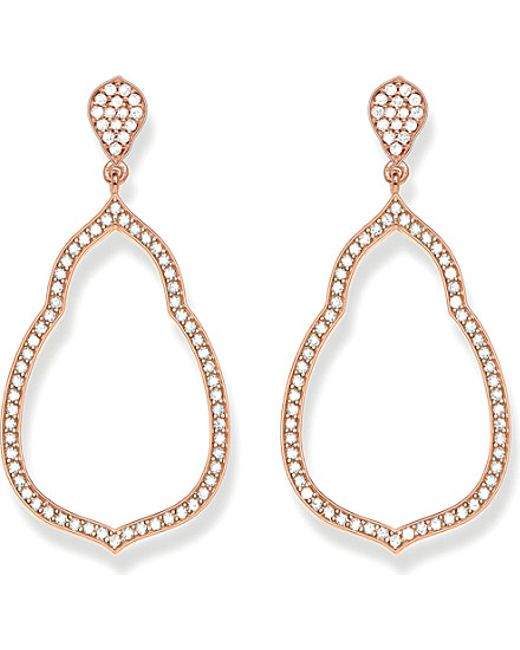 Thomas Sabo | Metallic Fatima's Garden 18k-rose Gold Plated Sterling Silver And White Pavé Zirconia Drop Earrings | Lyst