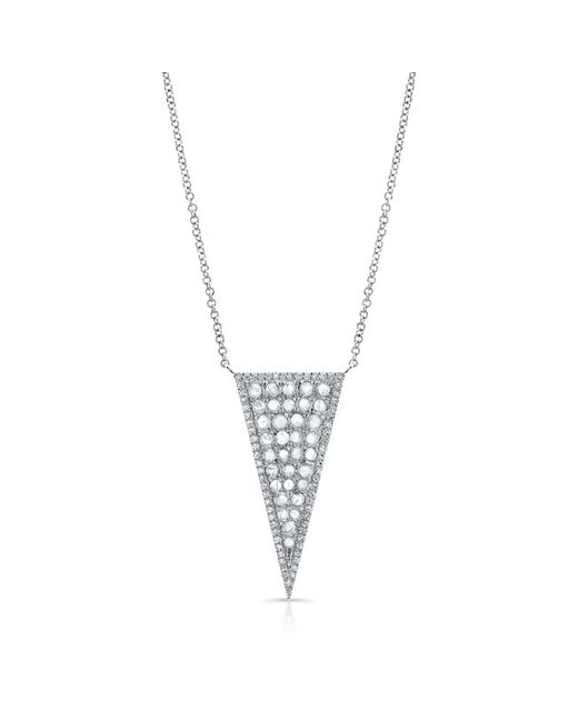 Anne Sisteron | Metallic 14kt White Gold Diamond Slice Triangle Necklace | Lyst