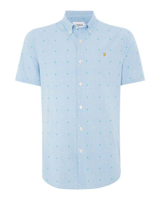 Farah | Blue Thirlby Slim Fit Short Sleeve Gingham Shirt for Men | Lyst