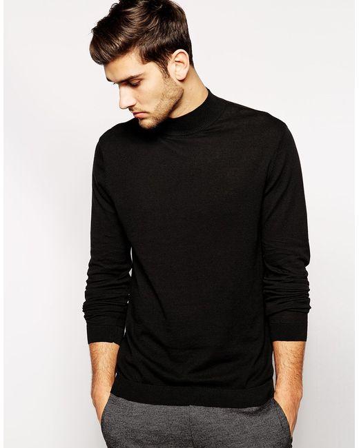 Asos turtleneck jumper in black cotton in black for men for Turtle shirts for men