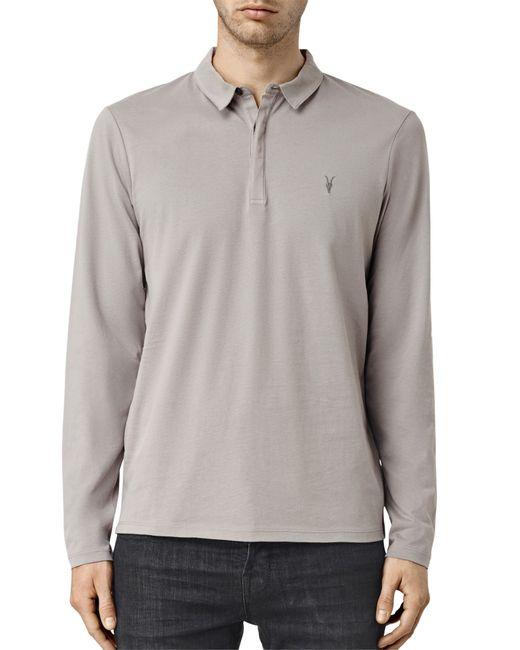 Allsaints Brace Long Sleeve Polo Shirt In Gray For Men