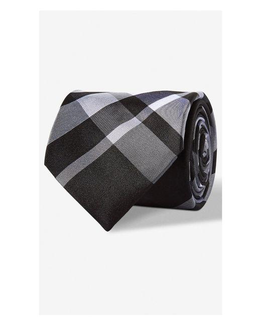 Express | Black Plaid Narrow Silk Tie for Men | Lyst