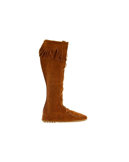 minnetonka front lace hardsole knee hi boot in brown lyst