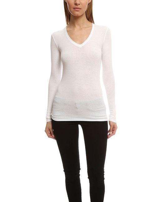 Atm atm long sleeve v neck rib shirt in white lyst for Long white v neck t shirt